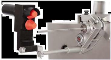 Vorsatzgerät Darmaufzieher aus Edelstahl glänzend mit schwarzem POM Körper und zwei roten Darmzapfen